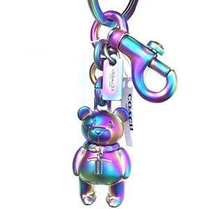 Coach Holographic Oil Slick bear keychain keyfob